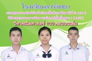 ขอแสดงความยินดีกับนักเรียนที่มีผลการทดสอบO-Net วิชาคณิตศาสตร์ 100 คะแนนเต็ม